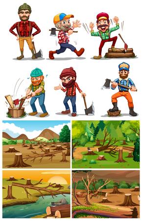 Deforestation scenes with lumber jacks illustration.