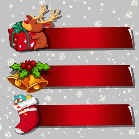Illustration pour Three banner design with christmas theme - image libre de droit