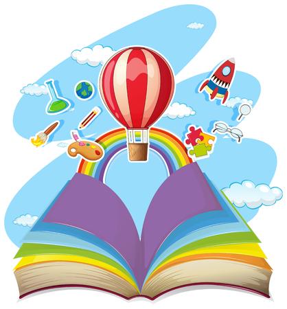 Ilustración de Colorful book with balloon in the sky illustration - Imagen libre de derechos