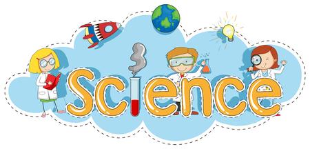Ilustración de Sticker template for word science illustration - Imagen libre de derechos