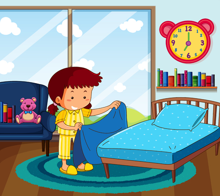 Illustration pour Girl in yellow pajamas making bed in bedroom illustration - image libre de droit