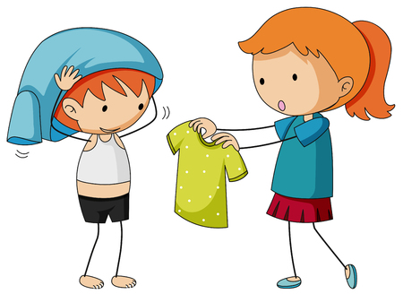 Illustration pour Sister helping brother getting dressed illustration - image libre de droit