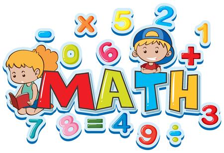 Ilustración de Font design for word math with many numbers and kids illustration - Imagen libre de derechos