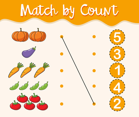 Math worksheet template with matching numbers and vegetables illustration