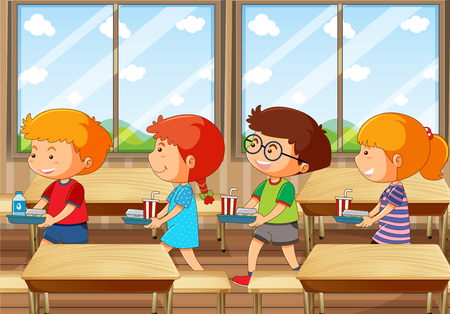 Illustration pour Four kids with food tray in canteen illustration - image libre de droit
