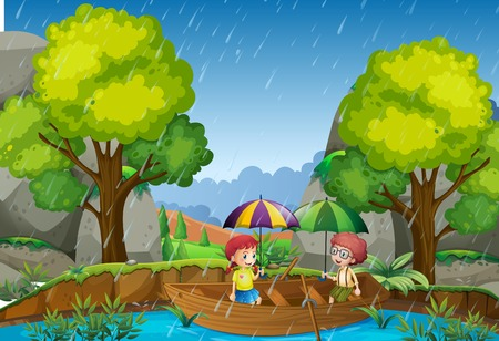Illustration for Rainy day with girl and boy in the park illustration - Royalty Free Image