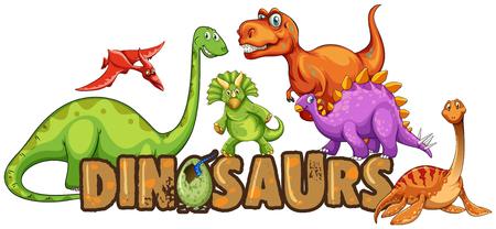 Illustration pour Word design for dinosaurs illustration - image libre de droit