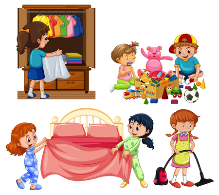 Good Children Doing Housework on White Background illustration