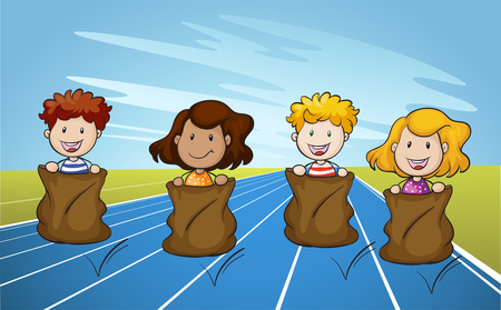 Illustration pour Jumping Sack Racing on Running Track illustration - image libre de droit