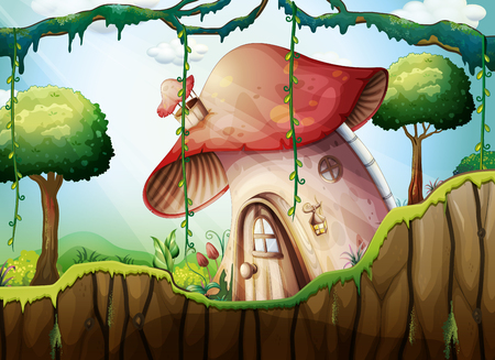 Illustration pour Mushroom House in the Rainforest illustration - image libre de droit