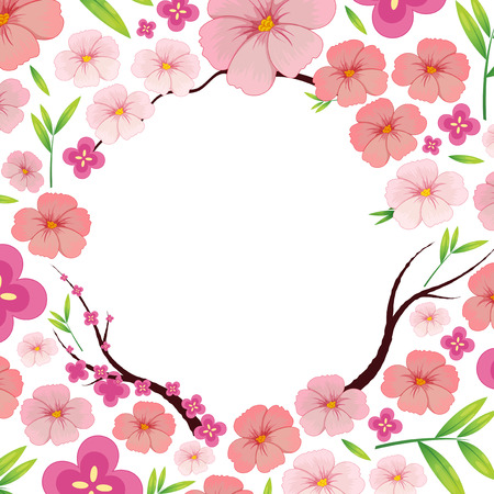 Illustration pour Asian Pink Japanese Sakura Template illustration - image libre de droit