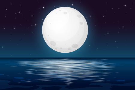 Ilustración de A Full Moon Night at the Ocean illustration - Imagen libre de derechos