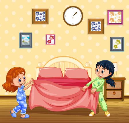 Illustration pour Children Making Bed in the Morning illustration - image libre de droit