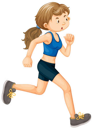 Photo for A Woman Running on White Background illustration - Royalty Free Image