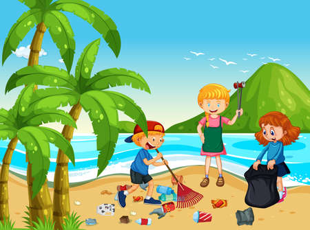 Illustration for A Group of Volunteer Children Cleaning Beach illustration - Royalty Free Image