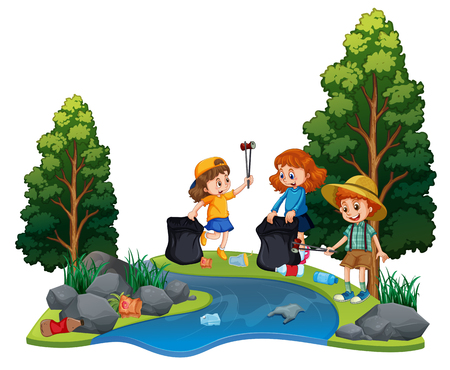 Kids volunteering cleaning up river illustration