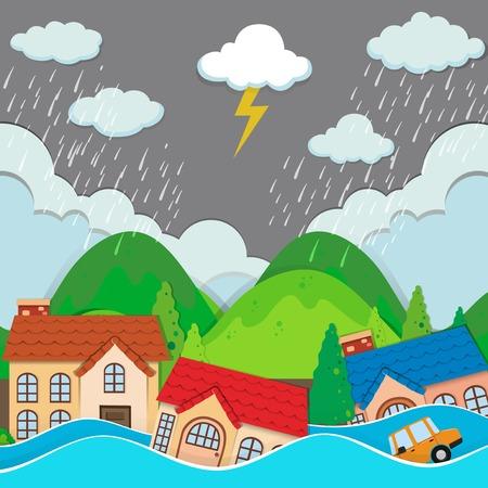 Ilustración de An urban city under flood illustration - Imagen libre de derechos