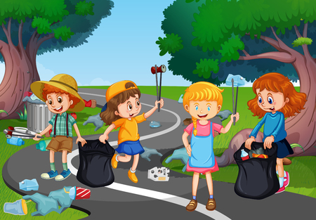 Illustration pour Kids volunteering cleaning up park illustration - image libre de droit