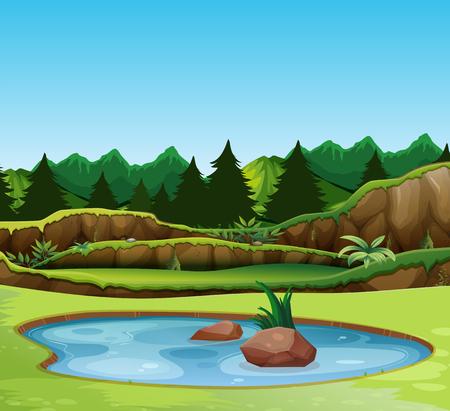 Illustration pour A beautiful nature landscape illustration - image libre de droit