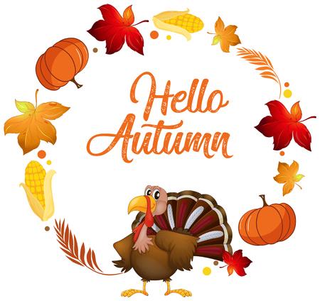 Illustration pour A turkey on autumn card template illustration - image libre de droit