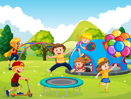 Illustration for Kids playing in playground illustration - Royalty Free Image