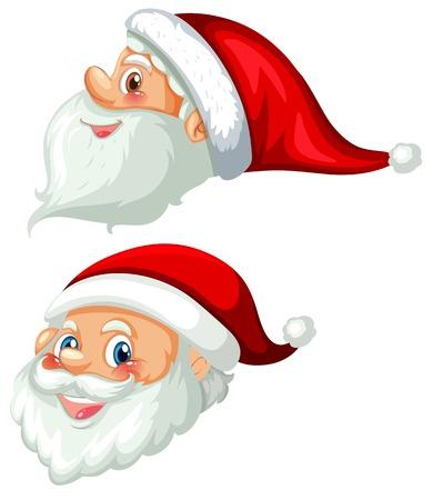 Illustration pour Front and side of santa head illustration - image libre de droit