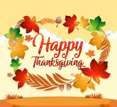 Illustration pour A happy thanksgiving card template illustration - image libre de droit
