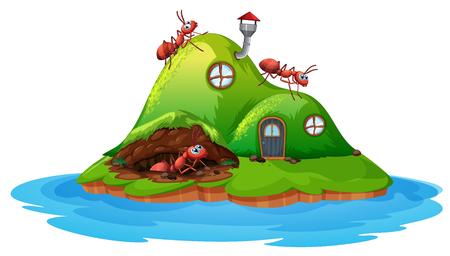 Illustration pour Ant hill house on white background illustration - image libre de droit