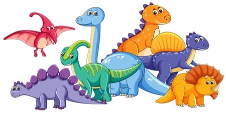 Ilustración de Group of cute dinosaur illustration - Imagen libre de derechos