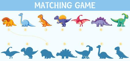 Dinosaur shadow matching game illustration