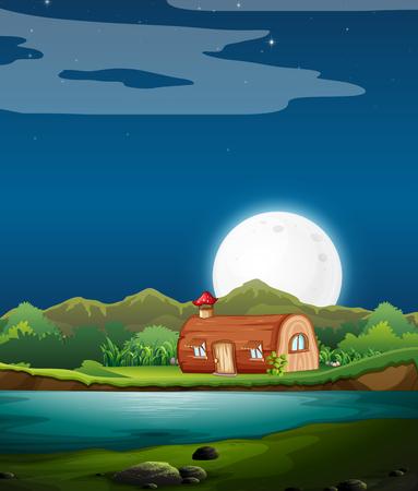 Illustration pour Enchanted wooden house at night illustration - image libre de droit