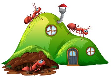 Illustration pour Underground hole ant home illustration - image libre de droit