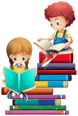 Illustration for Children with books on white background illustration - Royalty Free Image