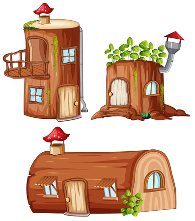 Illustration pour Set of enchanted wooden house illustration - image libre de droit
