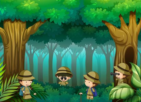 Illustration pour Children exploring the forest illustration - image libre de droit