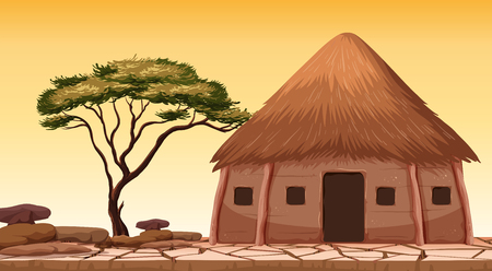 Illustration pour A traditional hut at desert illustration - image libre de droit