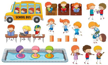 Illustration for Set of student activity illustration - Royalty Free Image