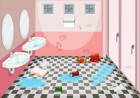Illustration for Interior design of dirty toilet illustration - Royalty Free Image