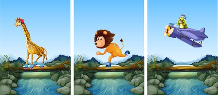 Set of animals playing extreme sport in nature illustration
