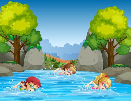 Illustration pour Children swimming in nature illustration - image libre de droit