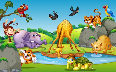 Illustration pour Wild animal in forest illustration - image libre de droit
