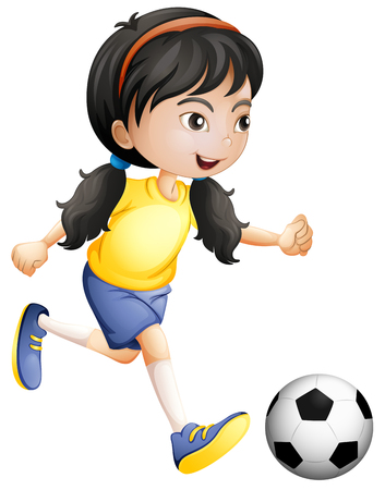 Illustration pour Young girl playing soccer illustration - image libre de droit