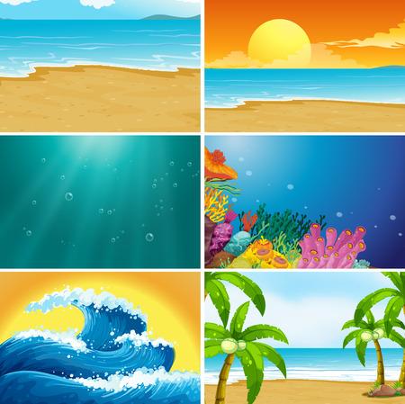 Illustration pour Set of summer beach landscape illustration - image libre de droit