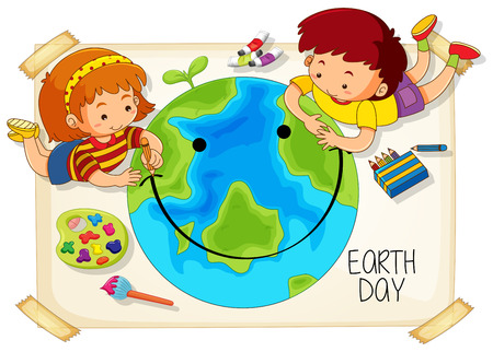 Illustration for Children and earth day icon illustration - Royalty Free Image