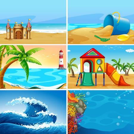 Illustration for Set of summer beach landscape illustration - Royalty Free Image