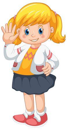 Illustration pour A cute female student character illustration - image libre de droit