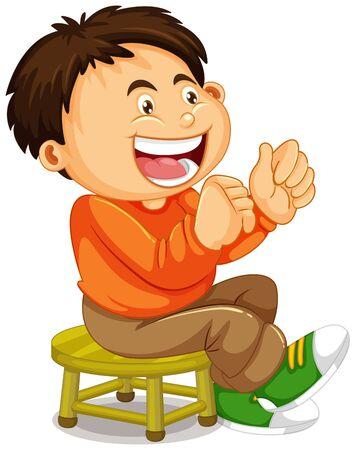 Illustration pour A boy sitting on the chair illustration - image libre de droit