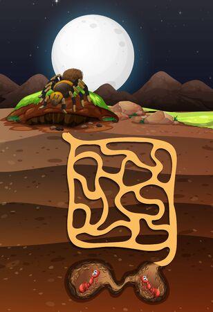 Illustration pour Landscape design with ants underground illustration - image libre de droit