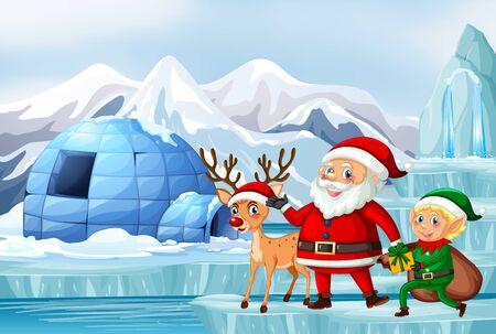 Illustration pour Scene with Santa and reindeer illustration - image libre de droit
