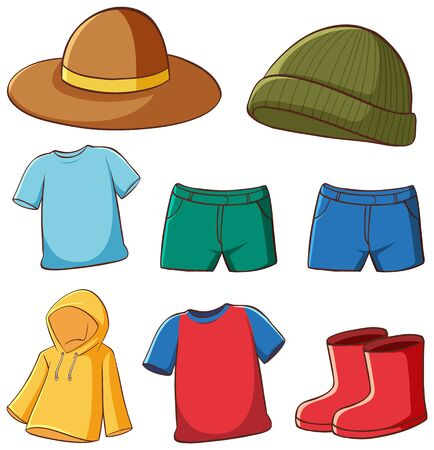 Illustration for Set of isolated clothes illustration - Royalty Free Image